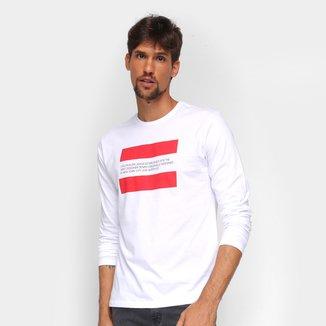 Camiseta Calvin Klein Manga Longa Faixas Masculina