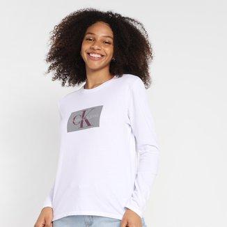Camiseta Calvin Klein Manga Longa Logo Feminina