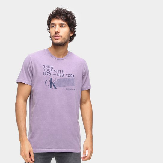 Camiseta Calvin Klein New York Masculina - Roxo