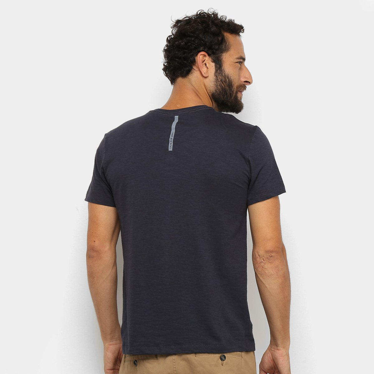 Camiseta Calvin Klein Re Issue Deslocado Masculina - Marinho