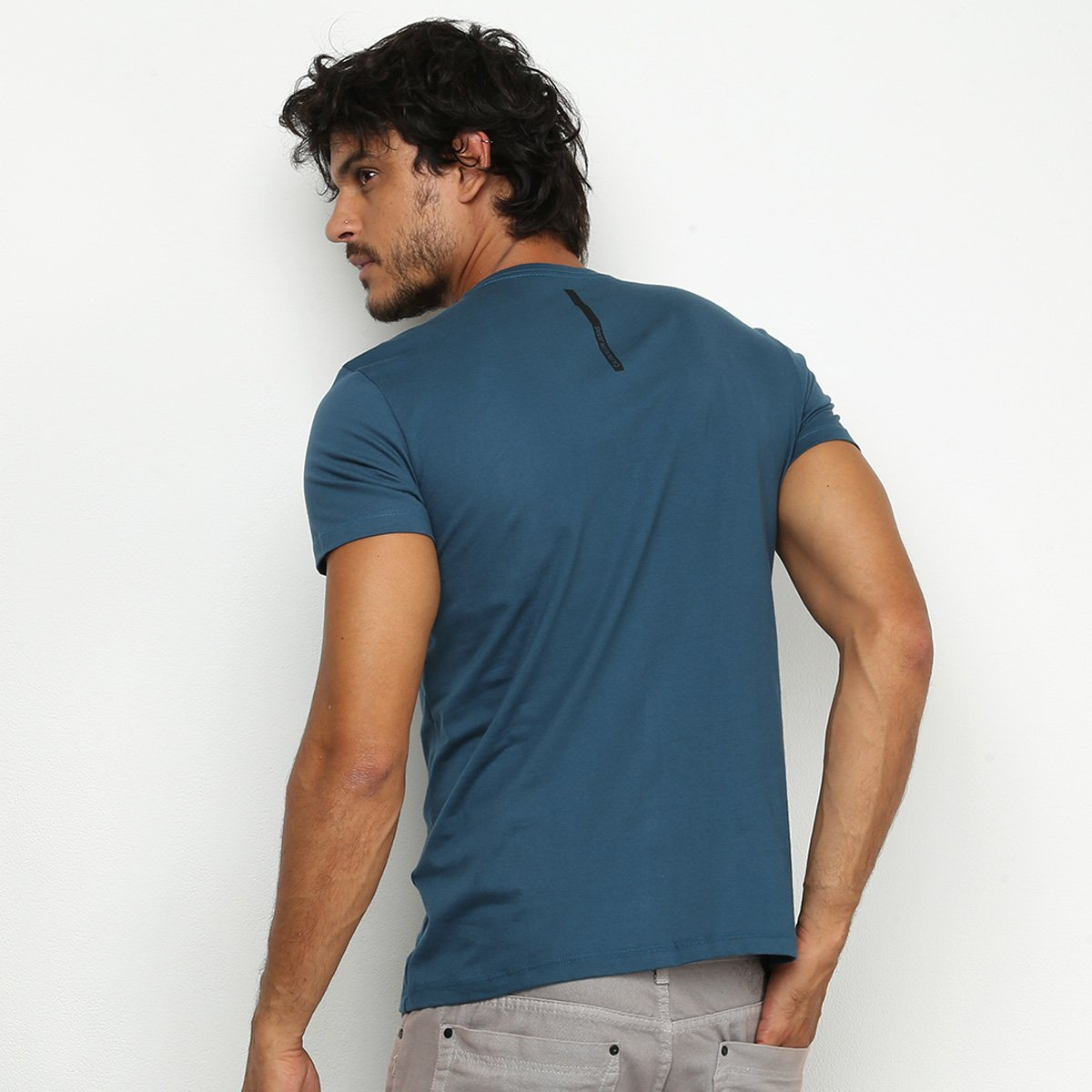Camiseta Calvin Klein Re Issue Retangulo Masculina - Azul Escuro