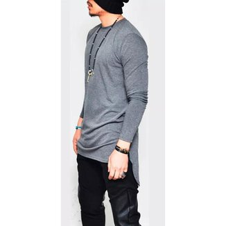 Camiseta Camisa Oversized Longline Maculina Ny Kings Top-Branco-GG