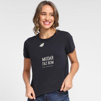 Camiseta Cantão Baby Look Borboleta Feminina