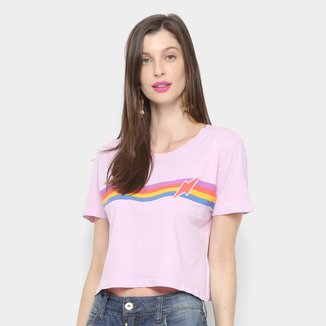 Camiseta Cantão Baby Look Listras Vintage Feminina