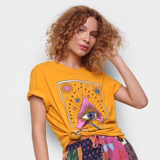 Camiseta Cantão Boyfriend Olhar Do Artista Manga Curta Feminina - Amarelo