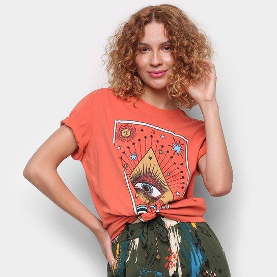 Camiseta Cantão Boyfriend Olhar Do Artista Manga Curta Feminina - Laranja