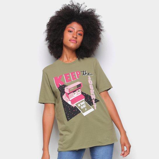Camiseta Cantão Boyfriend Polaroid Feminina - Verde escuro