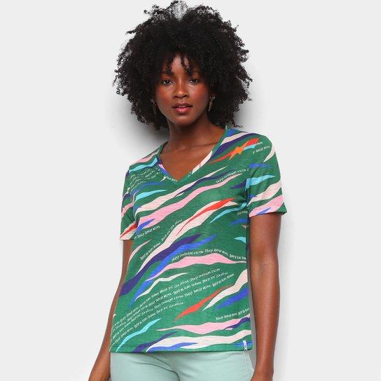 Camiseta Cantão Classic Dançante Gola V Feminina - Verde