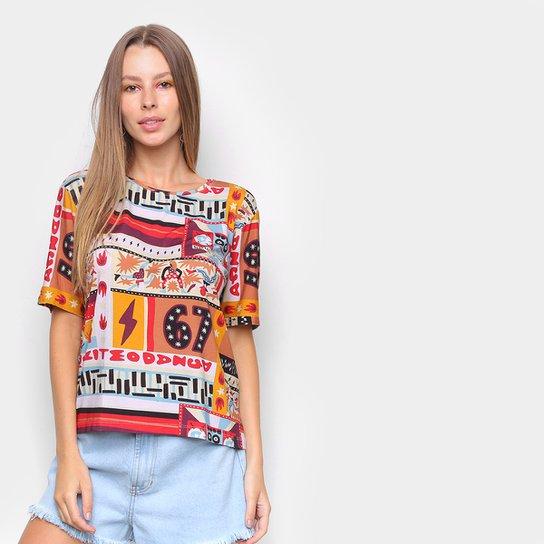 Camiseta Cantão Dig Aparelhagem Feminina - Branco+Vermelho