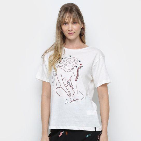 Camiseta Cantão Estampada Feminina - Off White