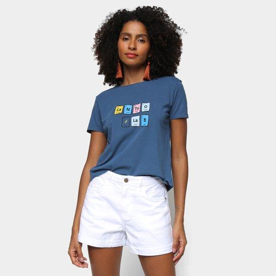 Camiseta Cantão Estampada Manga Curta Feminina - Azul