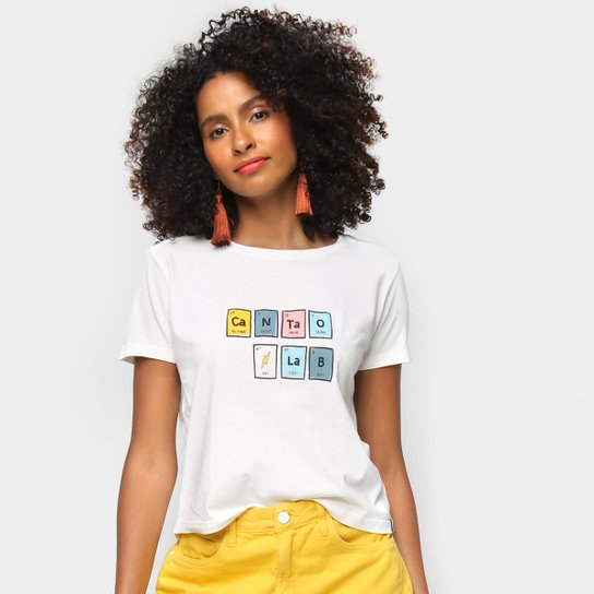 Camiseta Cantão Estampada Manga Curta Feminina - Branco