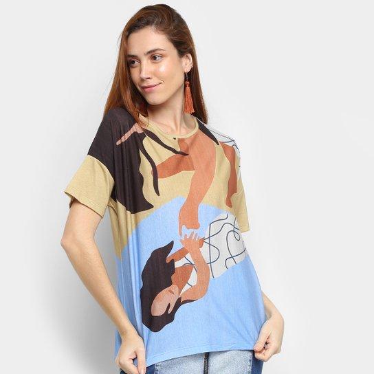 Camiseta Cantão Estampada Manga Curta Feminina - Laranja