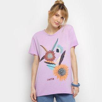 Camiseta Cantão Flores Vintage Feminina