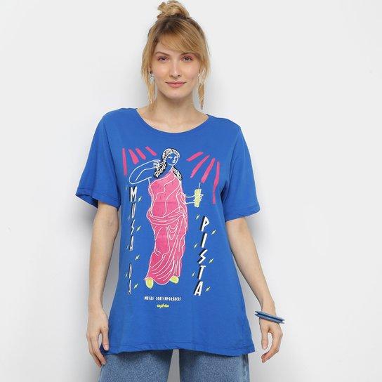 Camiseta Cantão Musas Contemporâneas Manga Curta Feminina - Azul