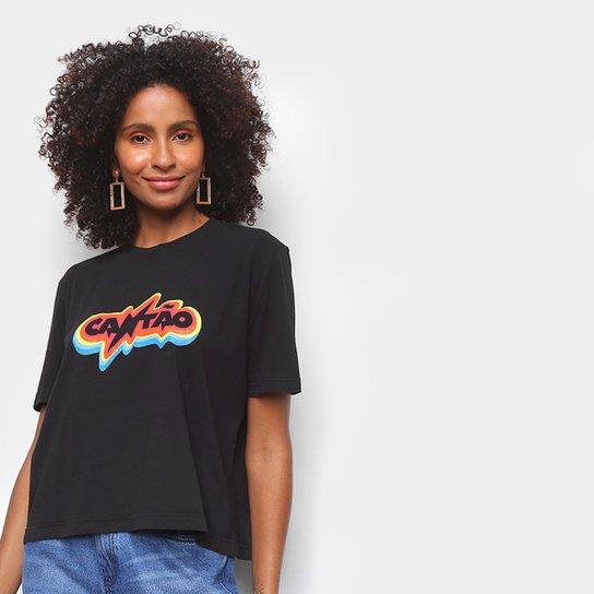 Camiseta Cantão Rainbow Feminina - Preto