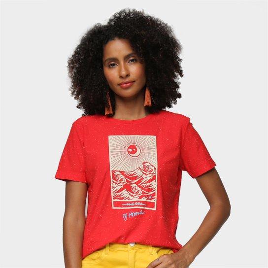 Camiseta Cantão Slim The Sea Feminina - Vermelho