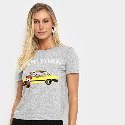 Camiseta Cativa Disney Taxi Feminina Feminino-Mescla