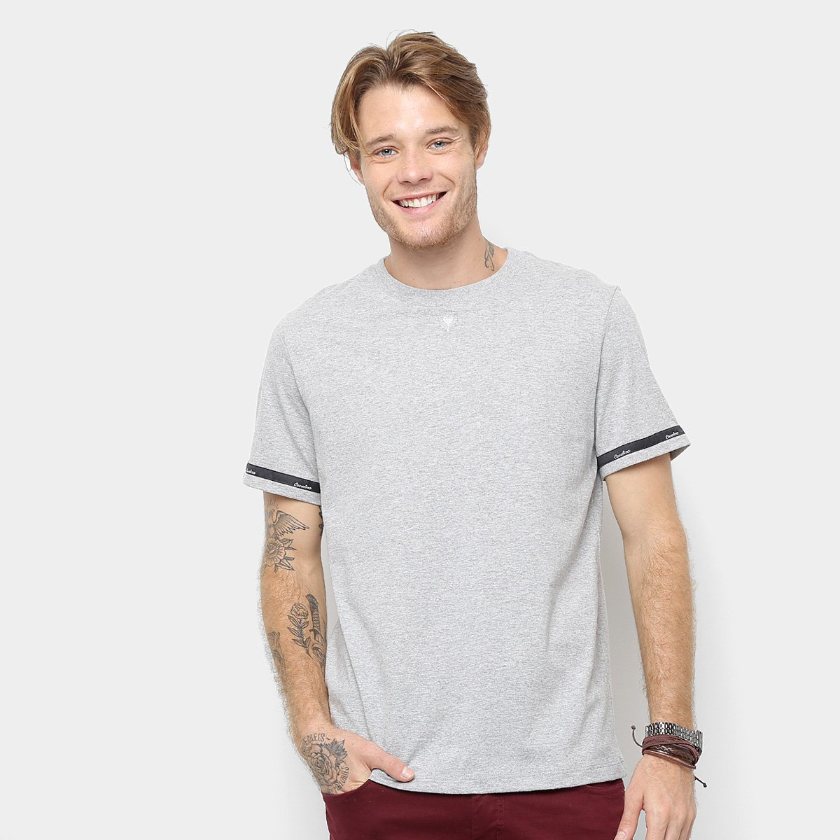 19d67a8fa7 Camiseta Cavalera Detalhe Fita Masculina - Mescla