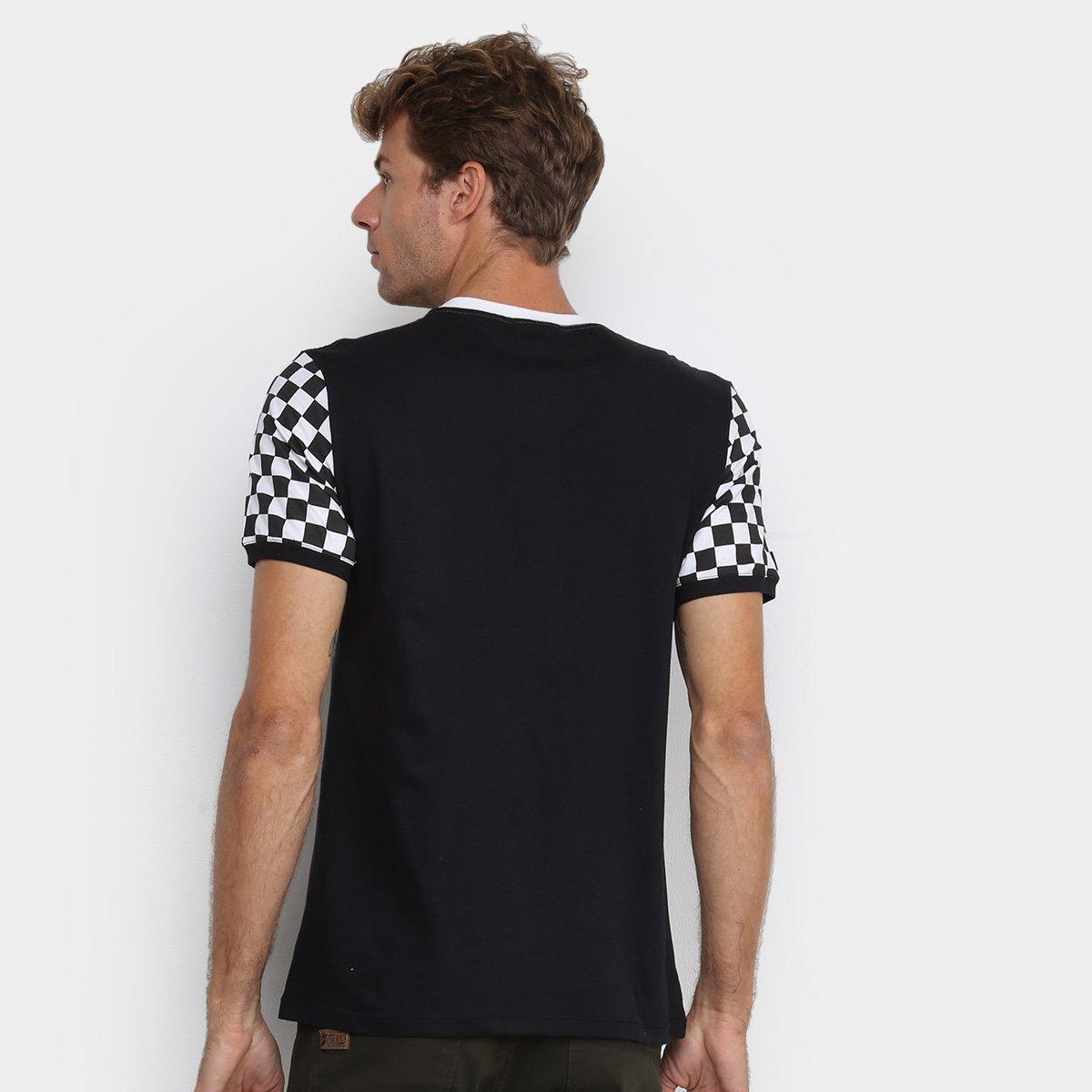 Camiseta Cavalera Race Quadriculada Masculina - Preto