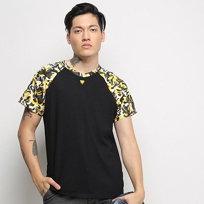 Camiseta Cavalera Raglan Clamufada Masculina