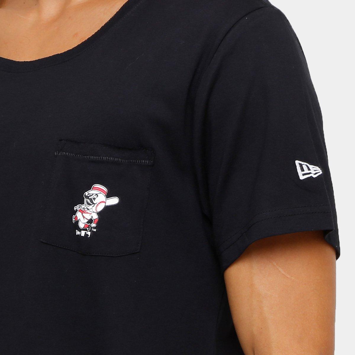 35abf5bb1c Camiseta Cincinnati Reds New Era Mini Logo Retro Masculina - Preto ...