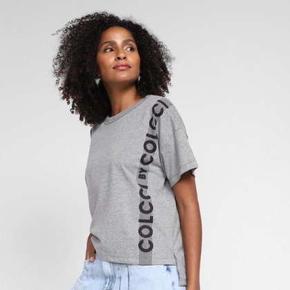 Camiseta Colcci Alongada Logo Feminina