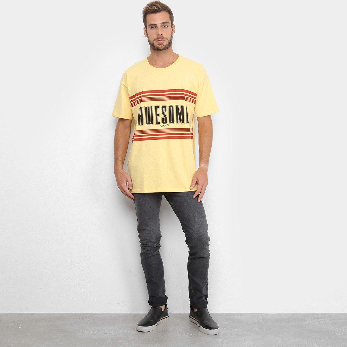 Camiseta Colcci Awesome Masculina - Amarelo