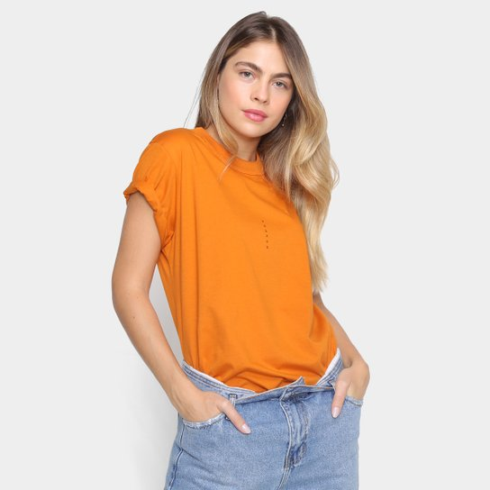 Camiseta Colcci Básica Logo Fit Feminina  - Laranja