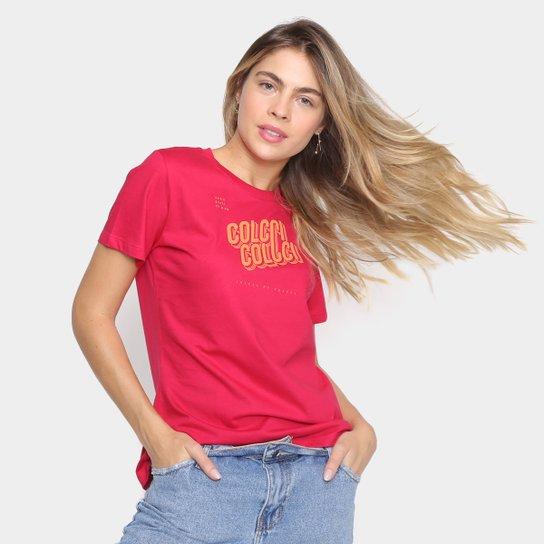 Camiseta Colcci Básica Logo Fit Feminina - Rosa