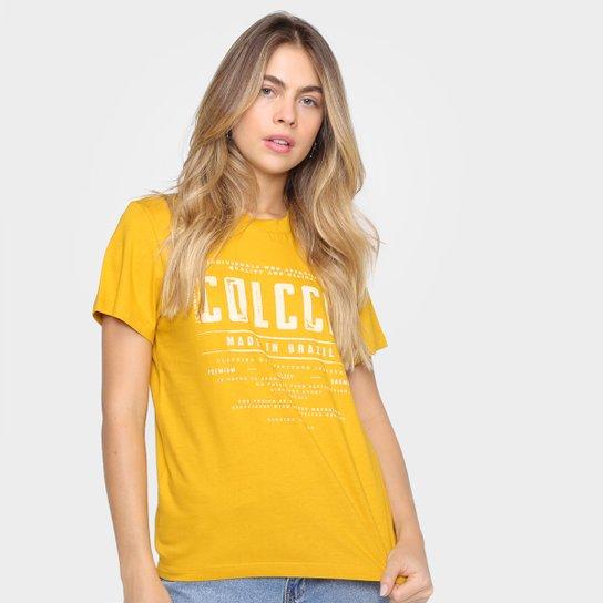 Camiseta Colcci Básica Logo Fit Feminina - Amarelo