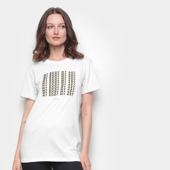 Camiseta Colcci Básica My Body My Art Feminina - Branco