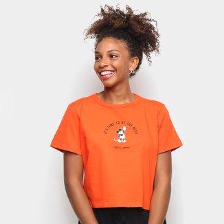 Camiseta Colcci Cropped Disney Mickey Feminina