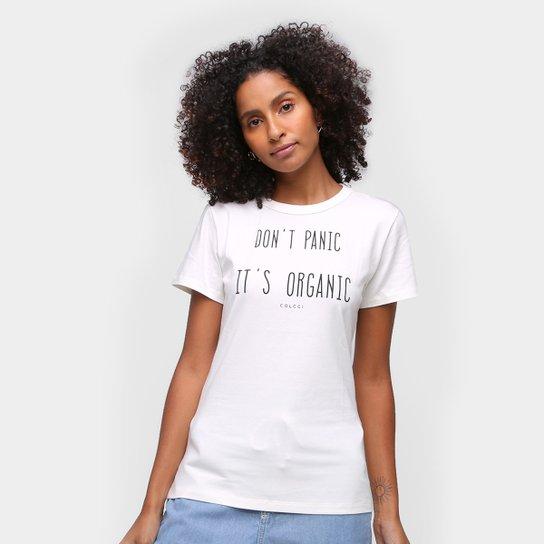 Camiseta Colcci Don't Panic It's Organic Feminina - Off White