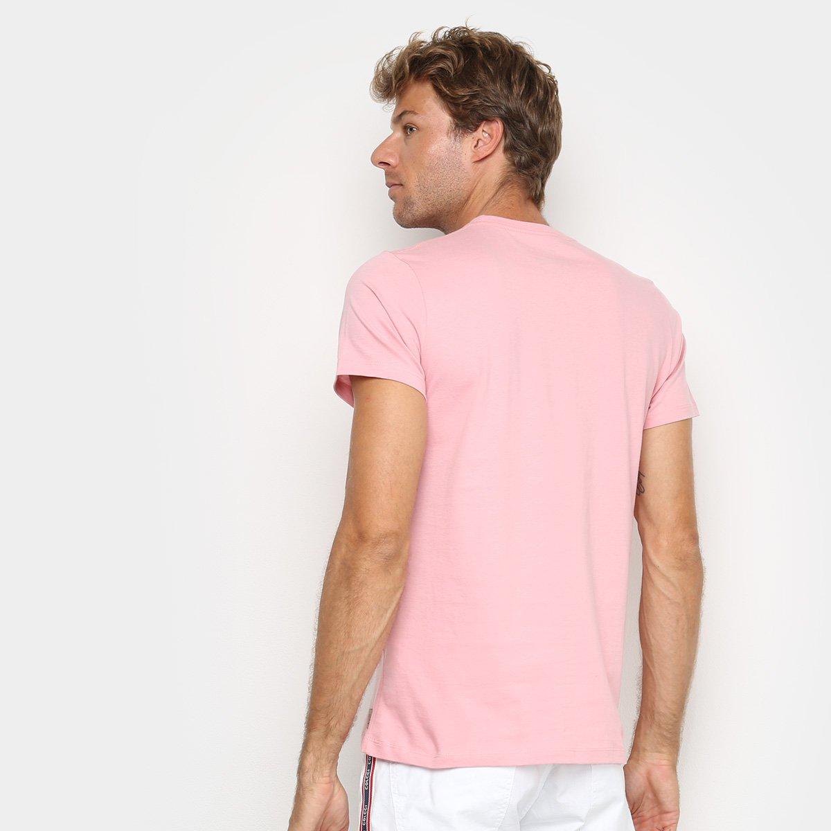 Camiseta Colcci Estampada Manga Curta Masculina - Rosa