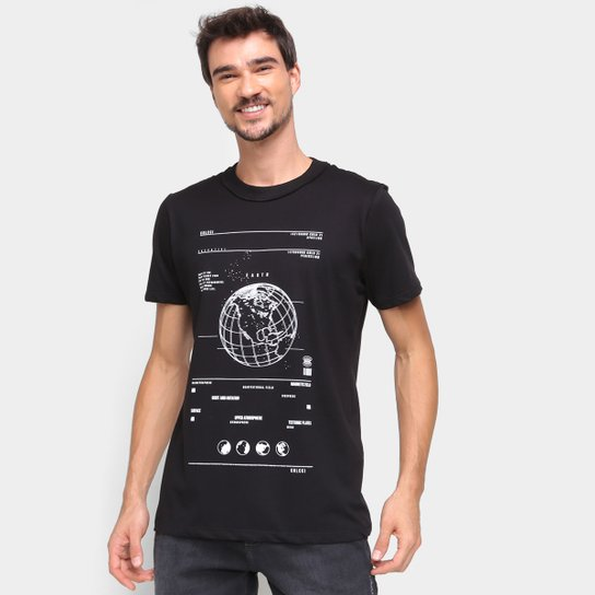 Camiseta Colcci Estampada Masculina - Preto