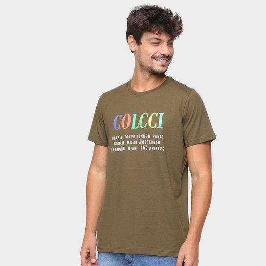 Camiseta Colcci Estampada Masculina - Verde claro