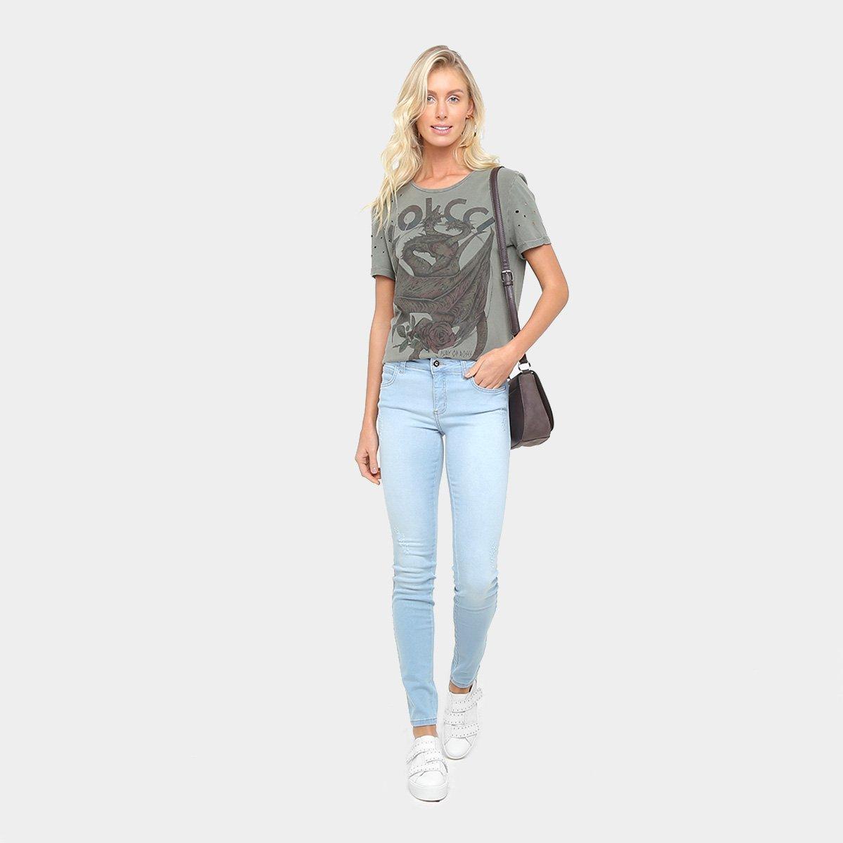 Camiseta Colcci Estonada Silk Furos Feminina - Compre Agora   Zattini 681a35527e