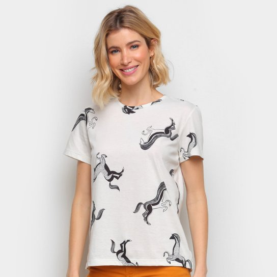 Camiseta Colcci Full Print Feminina - Branco
