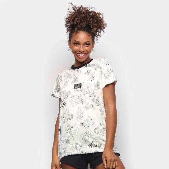 Camiseta Colcci Mickey Draw Feminina - Branco+Cinza