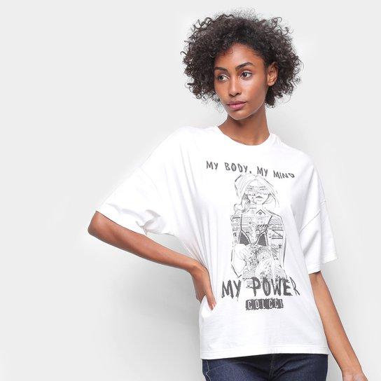 Camiseta Colcci My Body My Mind My Power Feminina - Areia