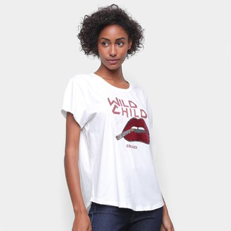 Camiseta Colcci Wild Child Bordado Paetê Feminina