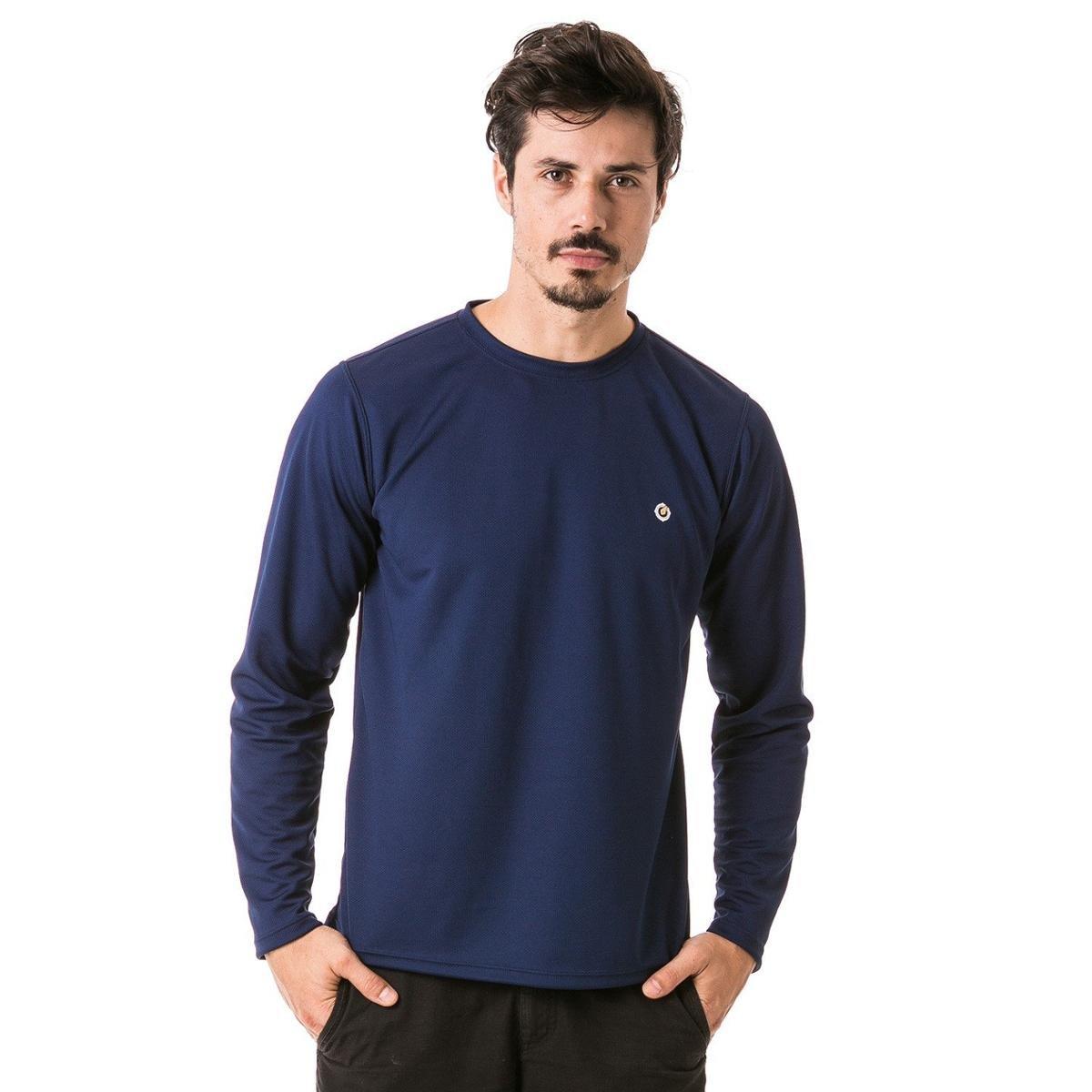 Camiseta com Proteção Solar Manga Longa Extreme UV Dry - Azul Escuro ... b7faf1bece178
