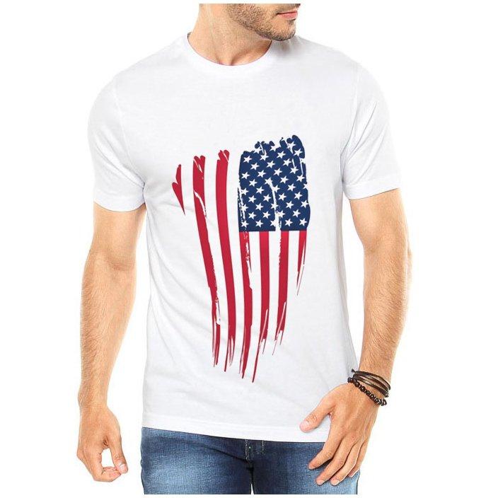5dd68d58ea Camiseta Criativa Urbana Bandeira EUA USA - Branco - Compre Agora ...