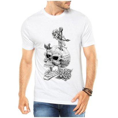 Camiseta Criativa Urbana Caveira Flores Style