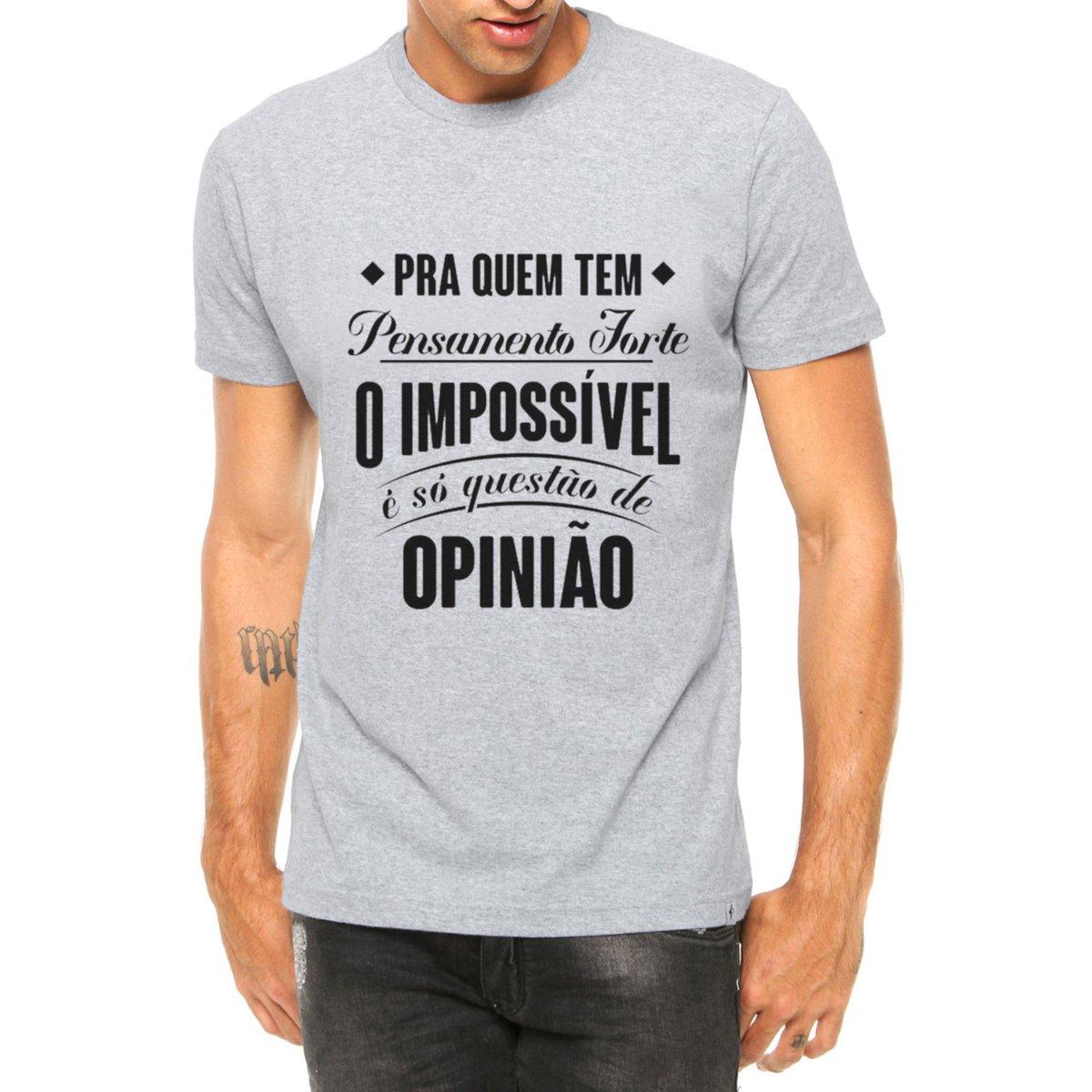 Camiseta Criativa Urbana Frases Música Pensamento Forte Manga Curta Cinza