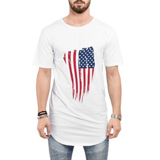 Camiseta Criativa Urbana Long Line Oversized  Bandeira USA EUA