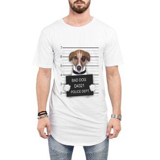 Camiseta Criativa Urbana Long Line Oversized Engraçadas Bad Dog Preso