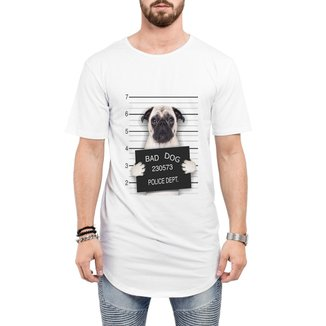 Camiseta Criativa Urbana Long Line Oversized Engraçadas Bad Dog Pug Preso
