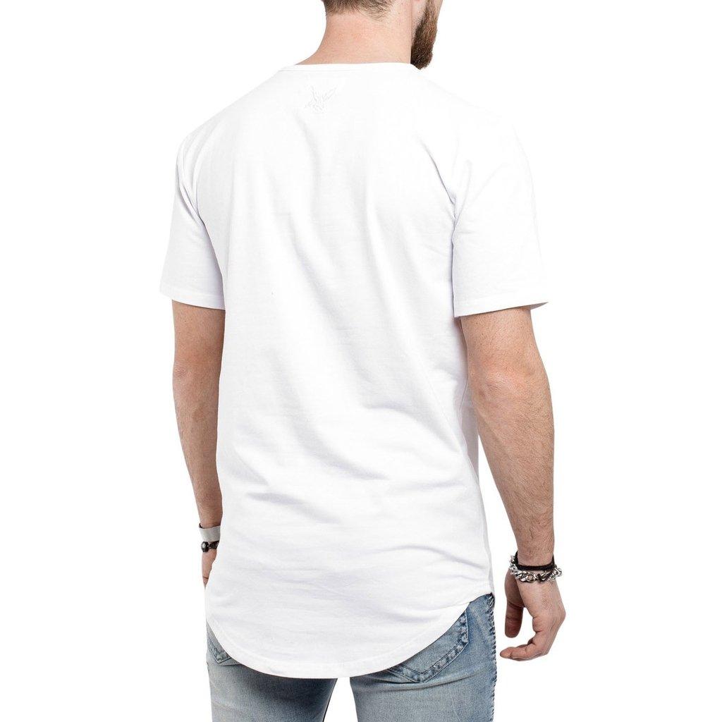 Camiseta Criativa Urbana Long Line Oversized Engraçadas Bad Dog Pug Preso - Branco